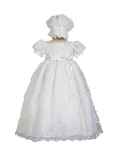 WITH BONNET Heirloom Baby Girl Christening Gown White Ivory Baptism Dress Lace Robe Belt 0-24 month 2015 white ivory crystals heirloom dedication christening gown blessing dress with bonnet baby baptism robe for boys girls