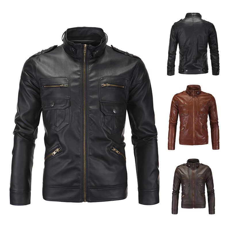 e5dbb7b6144 2019 Men PU Faux Fall Winter Thin Coats Biker Punk Motorcycle Male Retro  Jacket Stand Pockets