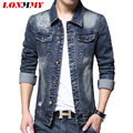 LONMMY L-4XL Jeans jackets mens coat for male Holes design High quality Slim fit Casual coat 2016 Fashion Denim jacket men