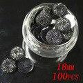 100 pcs 18mm Resina Strass Cor Preta Rodada Flatback Não Hotfix Artesanato Beads DIY Jewelry Making Acessórios