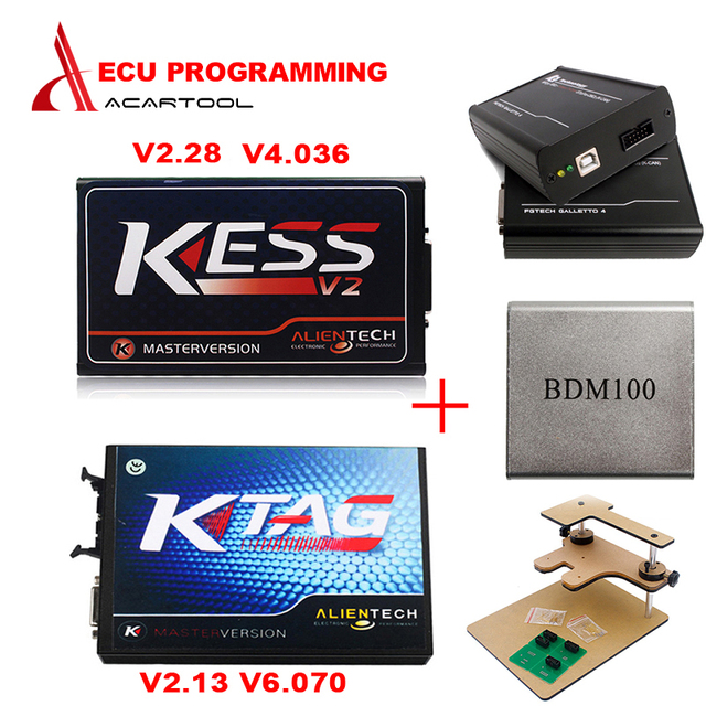 Newest Generation ECU programming KTAG V2.13 KTAG No Tokens Limitation + kess v2 V2.28 V4.036 +FG tech V54 + BDM frame + BDM 100