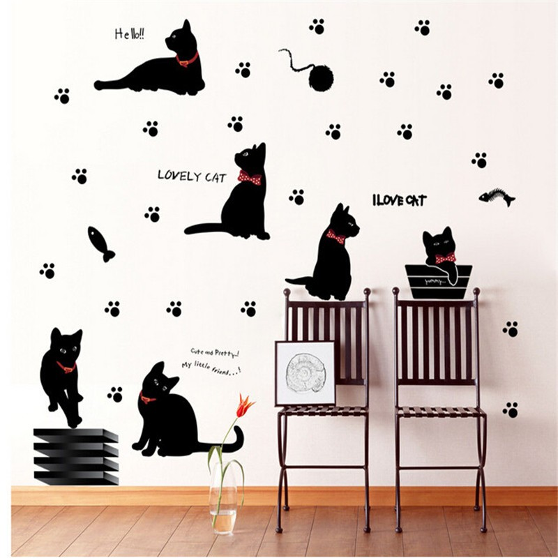 Hot Sell Lovely Cat Paw Fish Playing Wall Sticker Home Decals For Walls/Vinyl Removable Decal Mural Art Kitchen Living Room