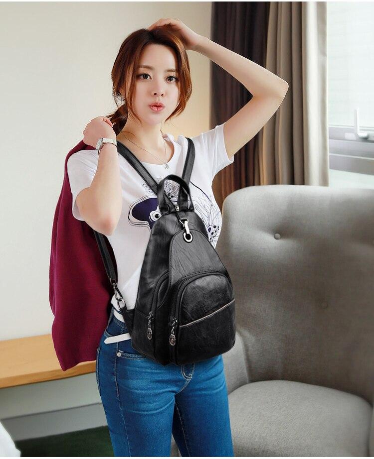 Zipper Leisure Women Backpack PU Leather Backpacks Female School Shoulder Bags For Teenage Girls Daily Back Pack