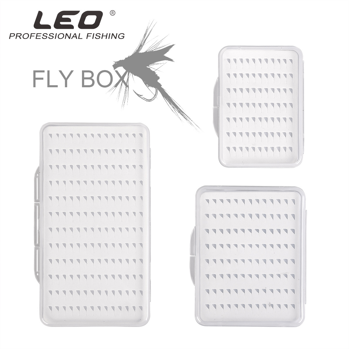 Leo Box Fly-Fishing-Hook-Box Transparent Waterproof Foam With Durable L-Size Pesca 28055