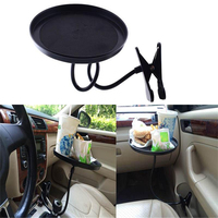 360 Degree New Car Auto Swivel Clip Mount Holder Drink Coffee Cup Table Stand Tray Tablett