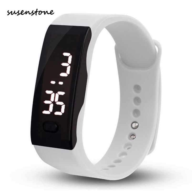 Susenstone אופנה יוניסקס Mens נשים שעון גומי LED תאריך ספורט צמיד דיגיטלי שעון יד פשוט שעון Relojes Hombre Y25