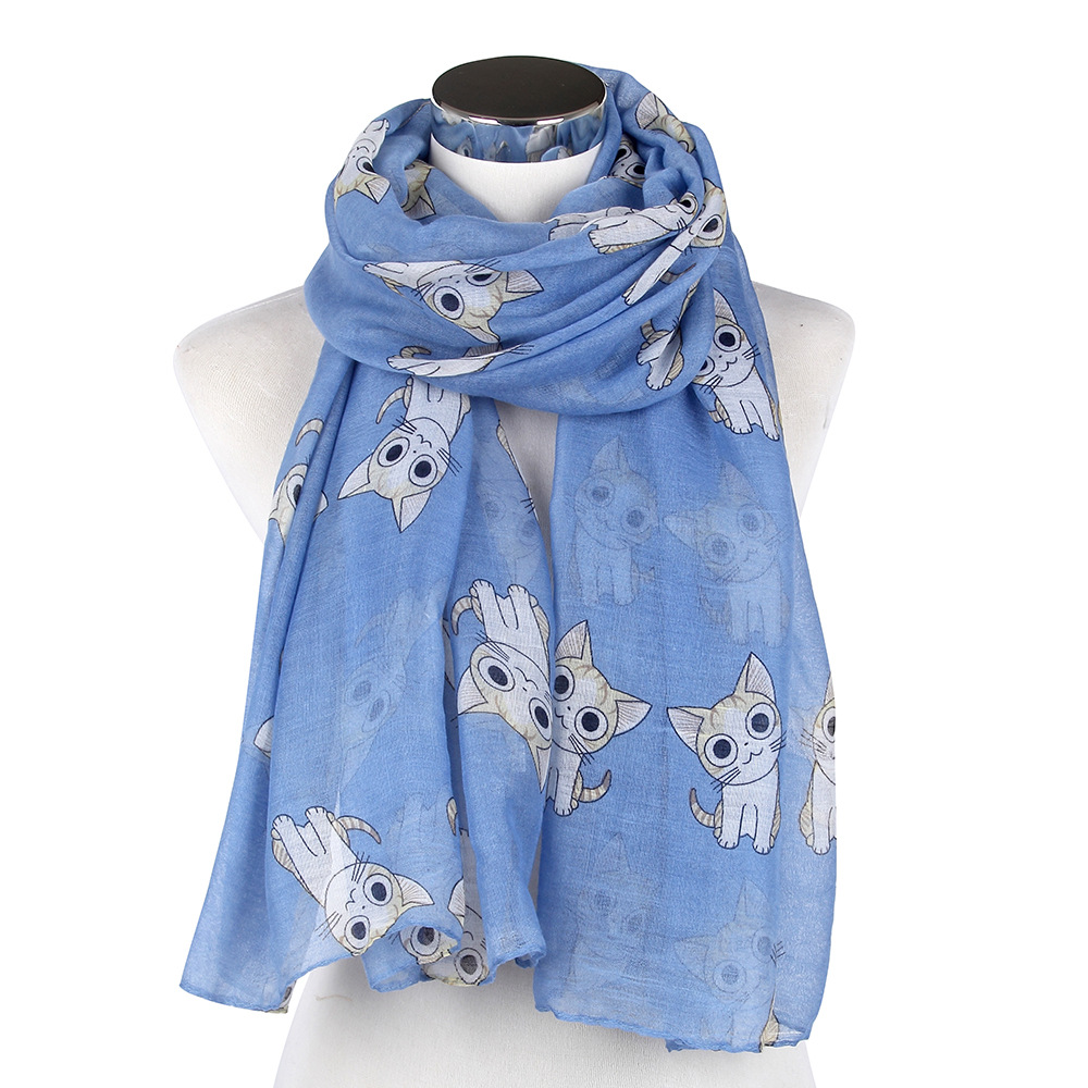 2016 Newest Cute Cat Print Scarves Shawls Women Animal Print Scarf - Apparel Accessories - Photo 5