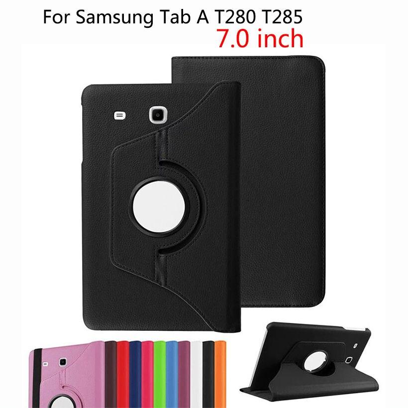 Nouvelle 360 Degrés Pour Samsung Tab A6 7 T280 Cas Rotatif Support Stand PU Cas Pour Samsung Galaxy Tab A6 7.0 T280 T285 SM-T280 cas