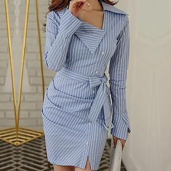 08593228a6 2019 primavera de las mujeres de moda elegante rayas botón Bodycon Vestido  de Vestir blusa rayas acanalado Irregular chaqueta camisa