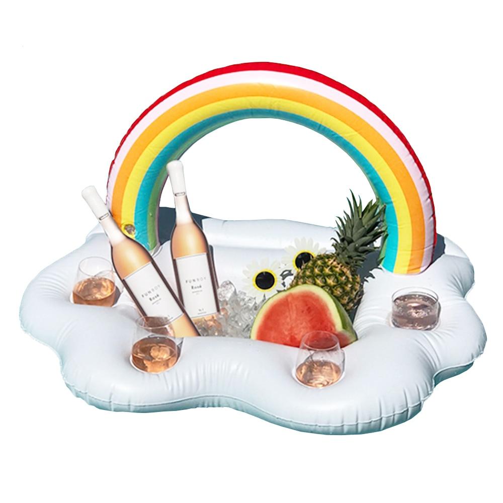 Arc-en-Cloud Porte-Boisson Plage Refroidisseur Partie 2018 Date Gonflable Verres De Natation Piscine Flotteurs Enfant Adulte de L'eau de Boisson Fun Jouets