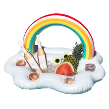 Rainbow Cloud Drink Holder Beach Party Cooler 2018 Posavasos inflables más nuevos flotadores de la piscina de natación Kid Adult Beverage Water Fun Toys
