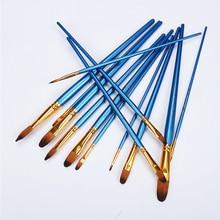 12Pcs Nail Round Head Painting Brushes Bule Nylon Watercolor Acrylic Brush Set for  Shool Student Children Painter Art Supplies