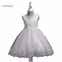 ruthshen Princess Pretty Baby Blue Flower Girls Dresses For Weddings With O Neck Pearls Lace Beadings Flower Girls Dress 2018