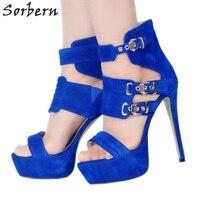 Sorbern Blue Extreme High Heels Kim Kardashian Shoes Gladiator Sandals For Women Luxury Brand Sandals Designer