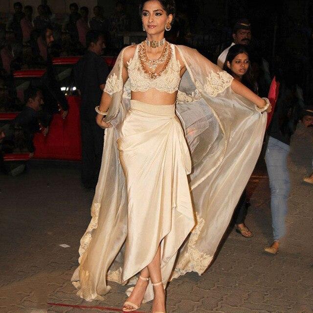 Fashion Saree Indian Evening Dresses Khaki Appliques Long Women Formal Gowns  3 Pieces Amazing Sexy Middle East Saudi Arabia f746de061780