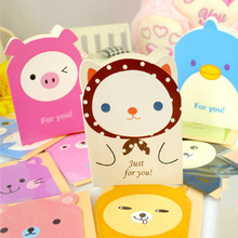 5Pcs/lot Cute animal cartoon Mini Card party invitation Greeting Birthday Gift Message Cards