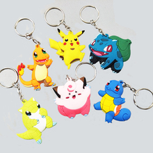 suti 3D Pokemon Go Keychain Pocket Monsters Key Holder Pikachu Key Ring Pendant Mini Charmander Squirtle Bulbasaur Figure Toys
