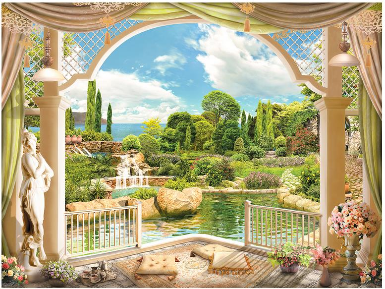Customized 3d Photo Wallpaper 3d Wall Murals Wallpaper European Garden  Scenery Roman Column 3 D TV
