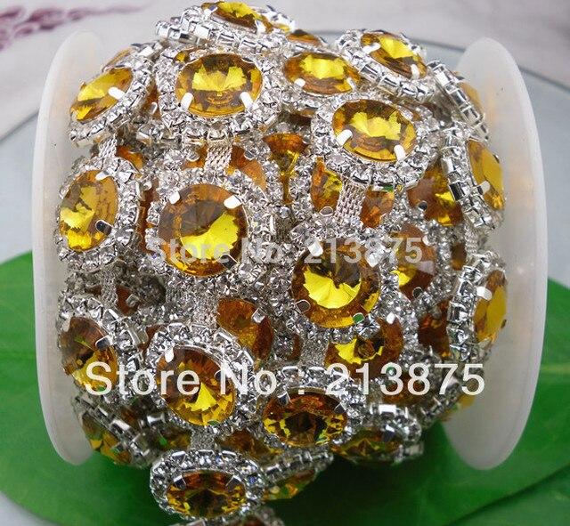 Free shipping 1 Yard 14mm Crystal yellow resin   glass rhinestone close  silver chain claw trim Wedding dress Wedding Decoration 60caaf35481e