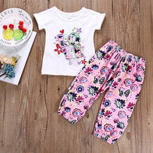 цены 2019 Children Clothing Sets Baby Girl Summer Outfits Fashion Toddler Top + Pant Clothes Set