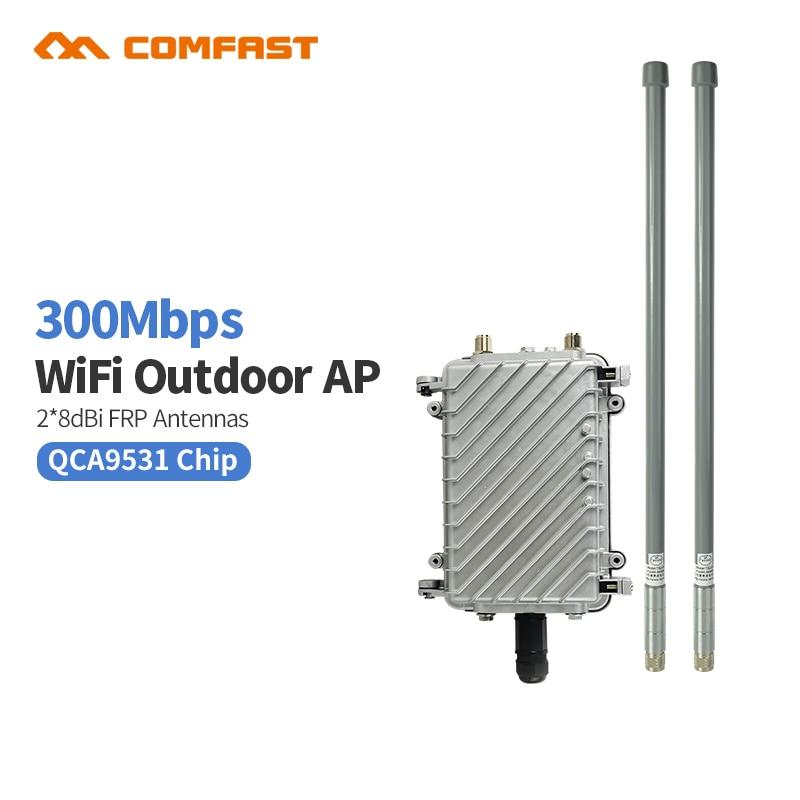 2.4 Ghz 300 Mbps 48 V PoE extérieur sans fil AP CPE Wifi routeur Signal Booster Station de Base avec 2 * 8dbi antennes pour la maison de parc