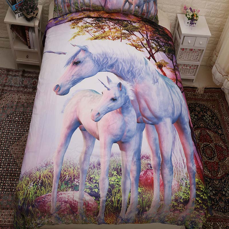 Bedding Sets Learned 3pcs/set Mother And Child Unicorn Bedding Set Forest Unicorn Print Bed Cover Duvet Cover Single Bed Sheets Home Textiles Top Watermelons