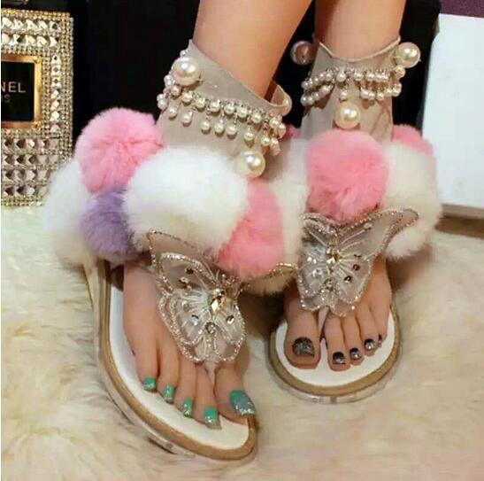 2017 Summer New Ankle Boots Luxury Crystal Women Sandals Beauty Mixed Color Fur Gladiator Sandals Women Flats Wedges Dress Shoes