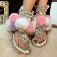 2017 Summer New Ankle Boots Luxury Crystal Women Sandals Beauty Mixed Color Fur Gladiator Sandals Women