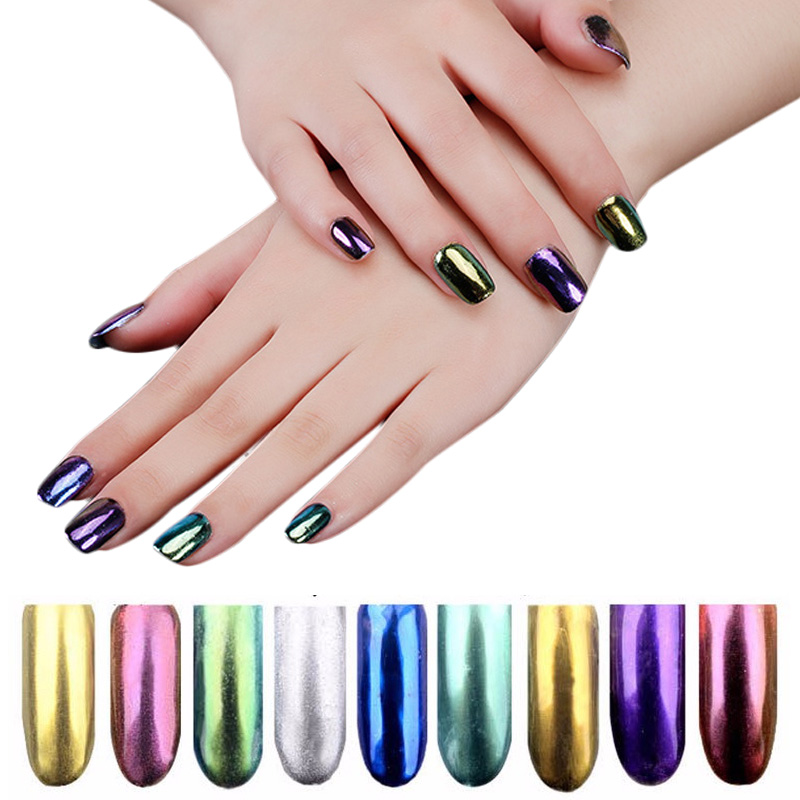 Nail Glitter DIY Shinning Chrome Mirror Powder voor Nail Metal Art Decoration Pigment Dust 2g / Box