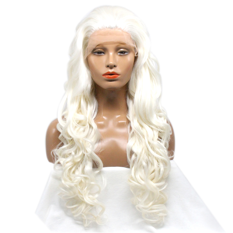 DLME Spanish hairstyle platinum heat resistant synthetic lace front wigs 150nsity loose wave blonde white wig for black women