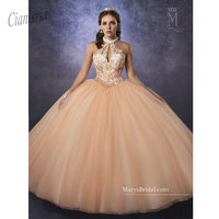 2019 Quinceanera Dresses Ball Gown Long Formal Prom Gowns Ball Gown Halter Beads Backless Sweet 16 Dress
