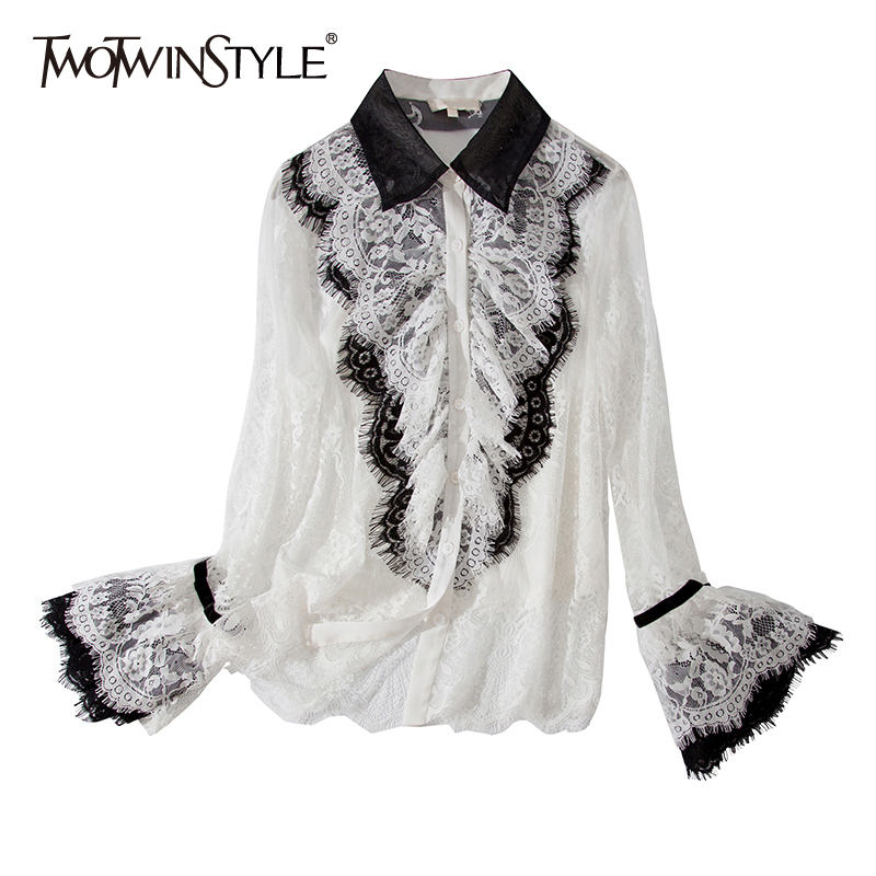 TWOTWINSTYLE Lace Patchwork Shirt For Women Lapel Collar Flare Sleeve Perspective Sexy Blouse Female 2020 Summer Fashion New