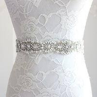 Womens Wedding Sash Elegant Rhinestone Satin Ribbon Bridal Belts Bride Bridesmaid Belt Dress Cummerbunds Waistband