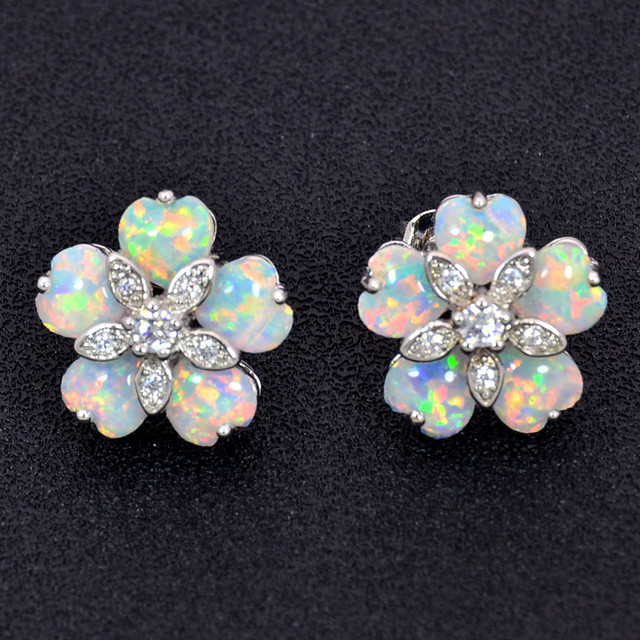 Whole Retail Fashion White Fine Fire Opal Earrings 925 Sterling Sliver Jewelry Emt16041702