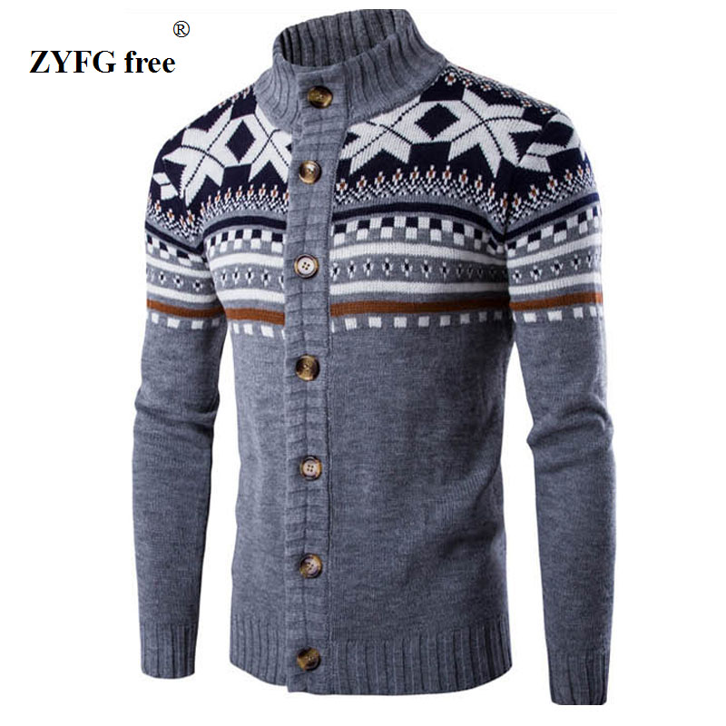 2017 New style fashion brand casual long sleeved sweater stand collar striped Slim knit men's  Ethnic style pattern sweaters