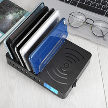 8 Multi Port USB Charger HUB Qi Wireless Phone Charger Wireless Charging Pad Universal AC Extension USB Power Socket Strip LED