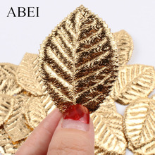 50pcs High Quality Gold Leave Artificial Silk small Leaf for Christmas Wedding Party Decoration DIY Handmade Crafts Ornaments
