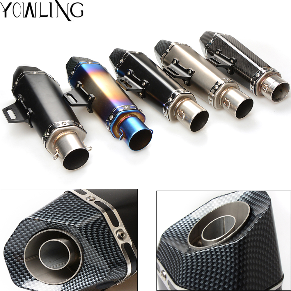 Universal 36-51mm Inlet Motorcycle Exhaust Muffler Pipe Real Carbon Fiber Racing Motorcycle Exhaust Pipe Muffler Escape