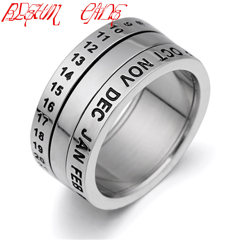 BLEUM CADE Number and Month Letter Rotatable rings for men Titanium Stainless Steel Punk Party Ring Jewelry