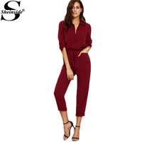 Sheinside 2016 Fall Ladies Burgundy Lapel Tie Waist Dual Pockets Rolled Sleeve Buttons Front Office Jumpsuit