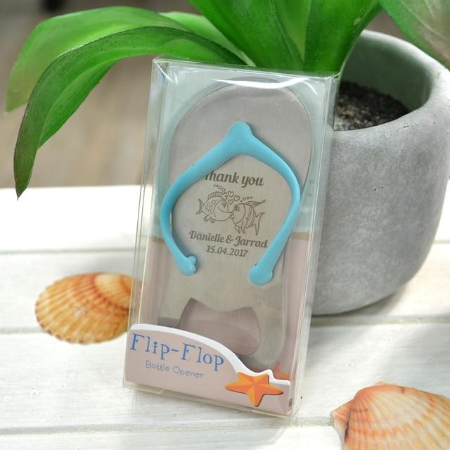 personalized flip flop bottle opener beach themed wedding bridal