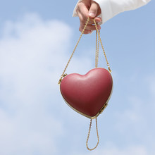 Evening Bags Heart Shaped Chain Shoulder Purse Day Clutch Bags For Wedding Party Banquet Bag Clip Personality Love Handbag(China)