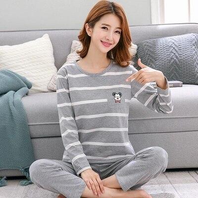 100% QualitäT 2 Teile/satz, Nachthemd Frauen Mädchen Reine 100% Baumwolle Langarm T-shirt Hosen Set Pyjamas Weiblichen Frühling Herbst Nachtwäsche Nachthemd