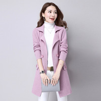 Autumn And Winter Knitted Cardigan Long Coat Women Turn Down Solid Color Long Warm Sweater Coat