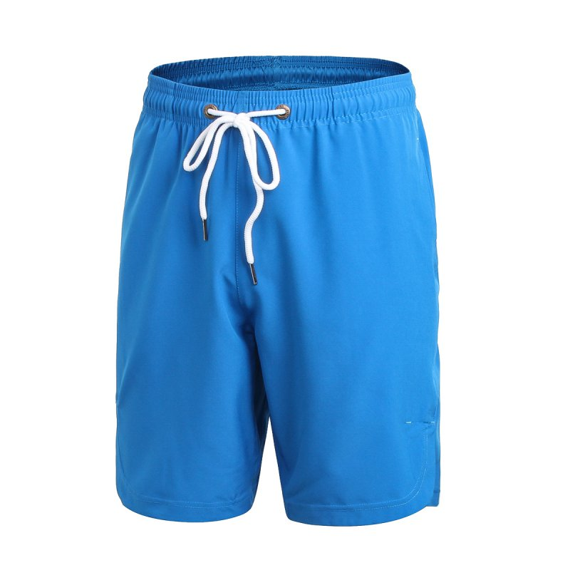 Men's Summer Soft  Comfortable Quick-dry Drawstring Solid Color Workout Casual Shorts H7