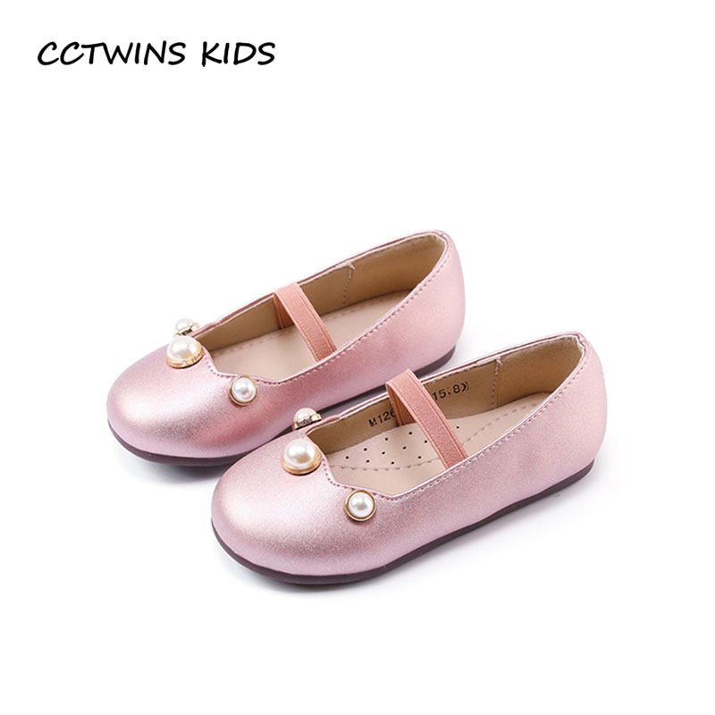 CCTWINS KIDS 2018 Spring Children Pu Leather Flat Baby Girl Princess Party Ballet Toddler Fashion Pearl Dance Shoe GB1732 wendywu spring autumn children fashion pu leather heeled shoe for baby girsl rhinestone princess dance shoes gold toddler