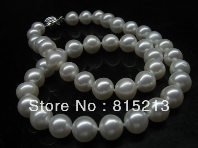 ddh00848 Fine luster 10mm near round freshwater pearl necklace silver clasp