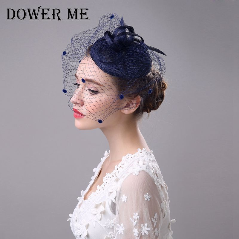 dower me tulle cap wedding hair accessories veil bridal birdcage wedding veils tiara crown hair jewelry