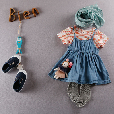 2016 new summer plaid girls clothes set  T-shirt with a denim skirt  free shipping 1Y to 4 Y