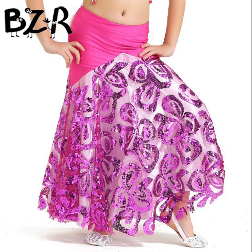 BAZZERY 135-150cm Children Five Flower-shaped Sequin Dance Skirt Belly Dance High-end Skirt Children Dance Fish Tail Dance Skirt
